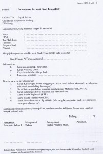 Untuk Mengajukan BST Mahasiswa wajib mengisi dan memenuhi persyaratan yang dilampirkan