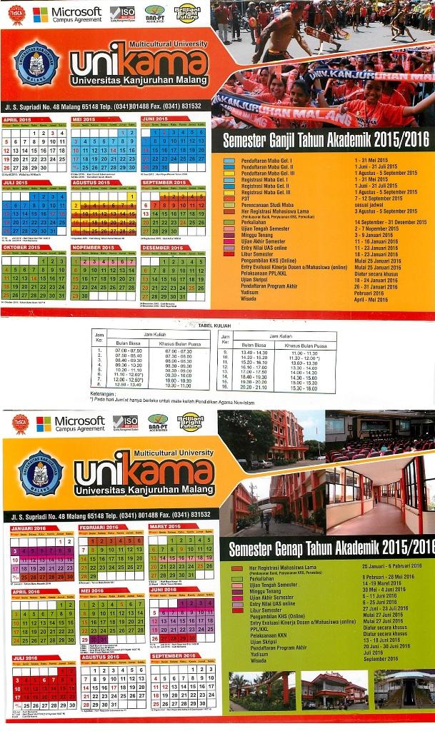 Kalender akademik unikama 15-16