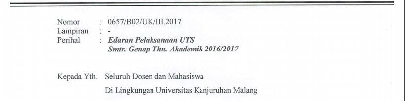 Kop edaran UTS 20162